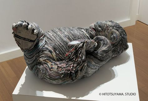 Chie Hitotsuyama Art Pinterest Book Sculpture Artsy And Artwork - Japanese artist tightly rolls newspapers to craft incredibly accurate animal sculptures