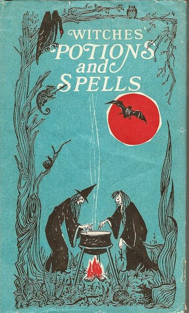 """Witches' Potions and Spells,"" vintage Halloween book by Kathryn Paulsen and Maggie Jarvis I love old images like this. Witches have always been my favorite Halloween icon! Retro Halloween, Halloween Tags, Halloween Books, Holidays Halloween, Halloween Crafts, Happy Halloween, Halloween Witches, Halloween Costumes, Halloween Stuff"