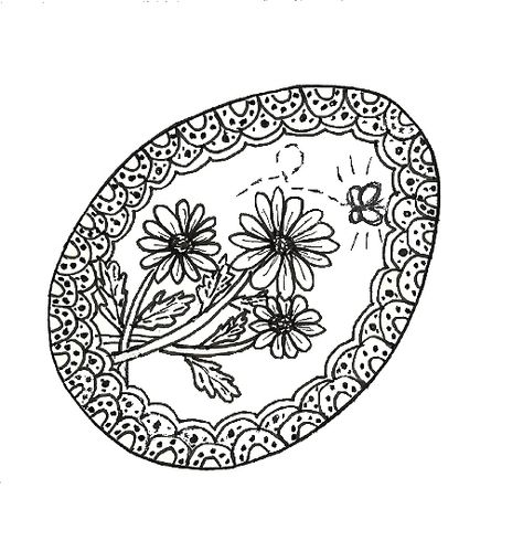 Easter Egg  B & W Zentangle