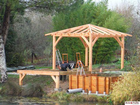 Prix Kiosque Pour Jardin Avec Terrasse Bois Toiture 4 Pans