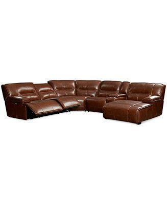 Beckett Leather 6 Piece Chaise Sectional Sofa with 2 Power
