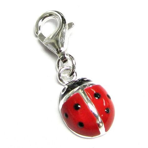 Sterling Silver Red Black Lady Bug Ladybug Enamel Dangle Charm Pendant For European Clip On Charm Jewelry W/ Lobster Clasp | Your #1 Source for Jewelry and Accessories