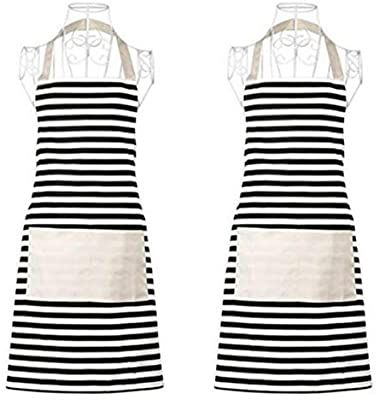 Amazon Com Xornis 2 Pack Cotton Canvas Aprons For Women With 2 Pockets Adjustable Kitchen Cooking Baking Chef Cu In 2020 Cute Aprons Womens Aprons Black White Stripes