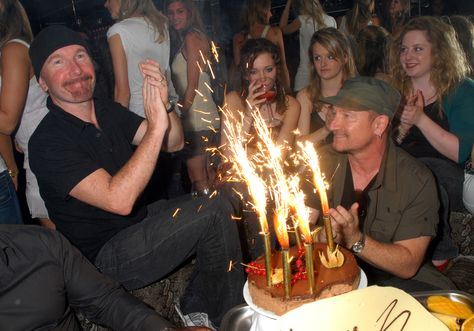 Given Bono's track record, Edge casts around wildly for a fire extinguisher.