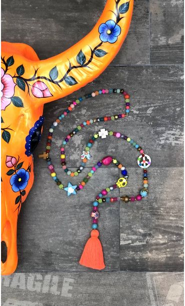 beau look profiter du prix de liquidation meilleurs prix Sautoir Tagada Multicolors Pompon Orange Fluo | Bijoux ...