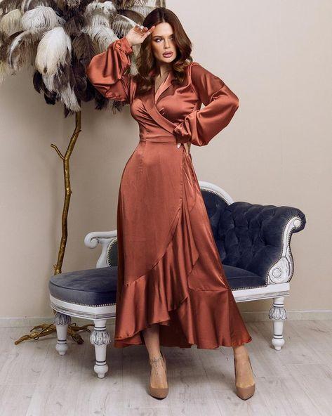 Rust Silk Ruffle Dress Satin Bridesmaid Gown