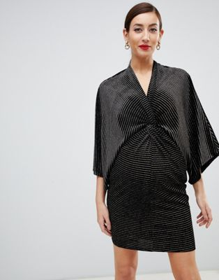 bf841ff5285 Flounce London Maternity velvet wrap mini dress in black and gold ...