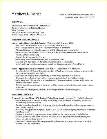 Criminal Justice Resume Template Baskanai Resume Summary Examples Resume Summary Resume