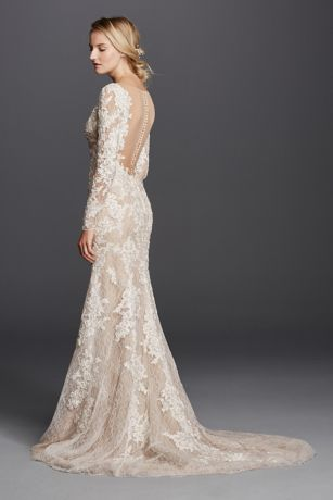 Sultry brides look no further! This dramatic lace sheath is one your guests will never forget!  Allover lacepaired with nude fabric givesthe illusion of a nude gown.  Long lace sleeves providesglamarouscoverage ofshoulders and arms.  Deep v-neckline accentuates the bustline, while low back adds sultry detail.  Sweeptrain. Sizes 0-16.  Available in Ivory/Nude in select stores.  Fully lined. Back buttons. Dry clean only.  Extra Length: Style 4XLSWG719.