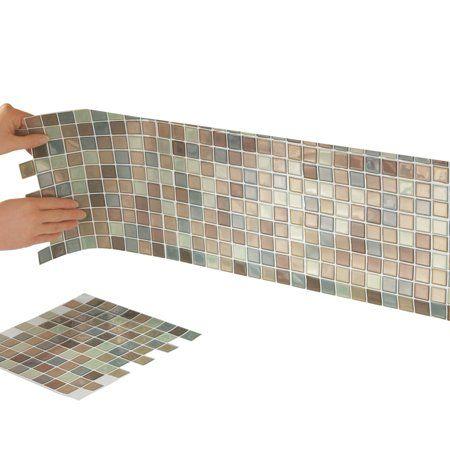 Multi Colored Adhesive Mosaic Backsplash Tiles For Kitchen And Bathroom Set Of 6 Walmart Com Diy Wall Tile Mosaic Backsplash Stick Tile Backsplash