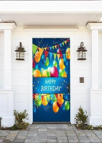 Happy Birthday With Balloons Birthday Door Decorations Birthday Decorations Kids Office Birthday