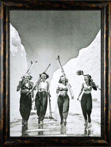 Girls Gone Skiing Nostalgic Bw Snow 325 Inch Wide Quality Framed Art Print Pictures Ski Posters Vintage Ski Posters Vintage Ski