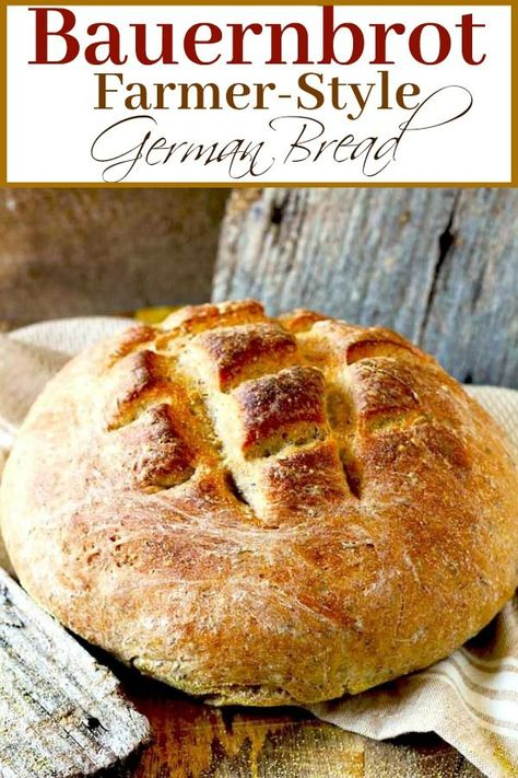 Bauernbrot – this farmer style German bread is dense, crusty and delicious. This hearty rye bread with caraway seeds is wonderful served right out of the oven with a little butter or cheese. #bread #rye #baking #Germany