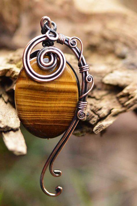 oeil de tigre pendentif enveloppe de fil fil par CopperingJewelry