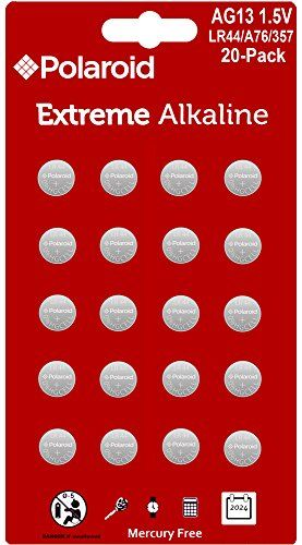 Polaroid Extreme Gpa76 Lr44 Ag13 1 5v Button Cell Alkaline Batteries Hexbug Compatible 20 Pack Button Cell Polaroid Original Alkaline Battery