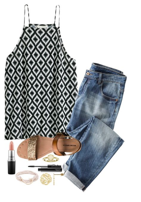 """""""I just haven't met you yet//QOTD"""" by mylifeassyd ❤ liked on Polyvore featuring H&M, Wrap, Mossimo Supply Co., MAC Cosmetics, Kendra Scott and MIANSAI"""