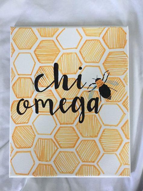 big little canvas Chi Omega Bee Canvas 8 x 10 Kappa Alpha Theta, Alpha Chi Omega, Big Little Basket, Big Little Gifts, Bid Day, Baby Wall, Minimalistic Design, Chi Omega Crafts, Big Little Canvas