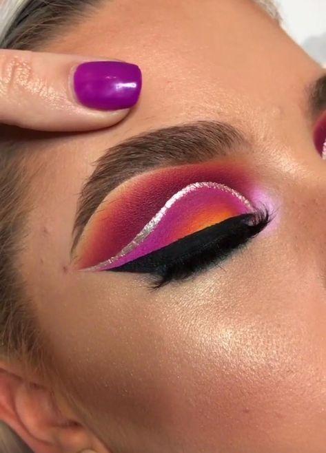 Bold Eye | Colorful Eyelooks | Natural Brow | Cut crease | Orange Purple Eyeshadow | Glitter Liner #eyelooks #eyeshadow Pin: @amerishabeauty