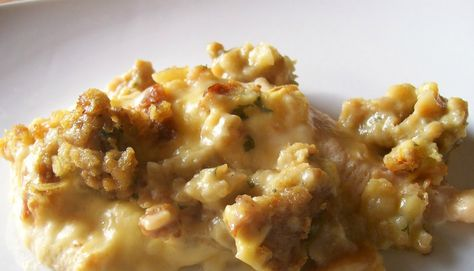 CROCKPOT SWISS CHICKEN CASSEROLE - I've made this recipe using cream of chicken soup and cheddar cheese too and either way tastes great! I've always used herb stuffing mix but I'm sure it's yummy with chicken flavor too. You can even use frozen chicken breast just be sure to cook the maximum time when using frozen. So easy!!