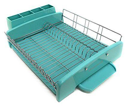 Kitchenaid 3pc Dish Drying Rack Large Capacity Aqua Sky Review Dish Rack Drying Kitchen Aid Dishes