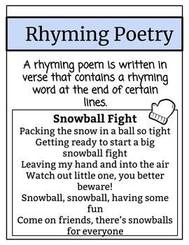 Winter Poetry Unit Using Photographs By Middle School Bookworm Tpt Acrostic Poetry Poetry Unit Rhyming Poems