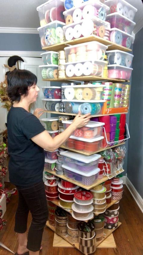 Learn how to make a ribbon storage tree stand shelf tutorial, ribbon storage DIY, ribbon storage tutorial, ribbon craft storage ideas DIY by Wreathsbysilvia on Etsy