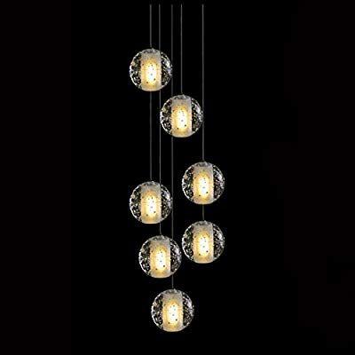 KJLARS LED Moderne Luxus Pendeleuchte Höherverstellbar Hängelampe Deckenlampe mit 7 Transparent Kristall Kugel
