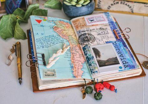 15 ✅ Ideas MIDORI ✅ Cuaderno Scrapbook de Viaje   cuaderno de viajes, ideas de diario, libros de recuerdos