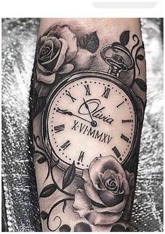 Girly Tattoos, Dope Tattoos, Mama Tattoos, Father Tattoos, Tattoos Pics, Pocket Watch Tattoos, Pocket Watch Tattoo Design, Clock Tattoo Design, Tattoo Designs