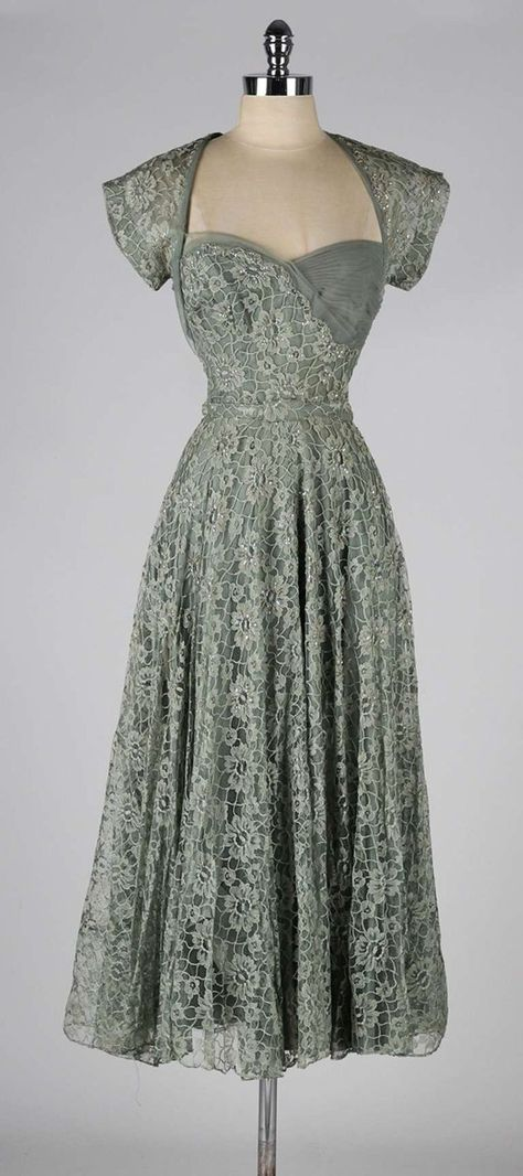 Vintage 1940\'s Sage Green Lace Cocktail Dress | From a collection of ...