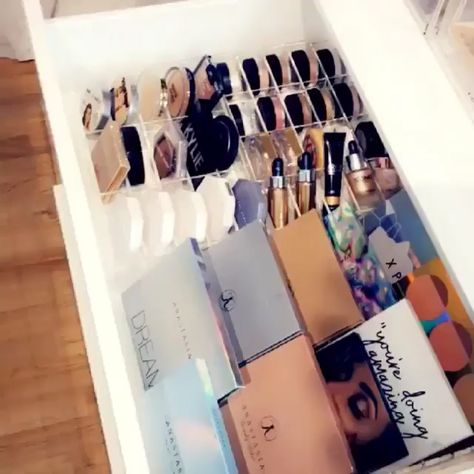 Acrylic organizers from Sonny Cosmetics fit 2 per drawer side by side