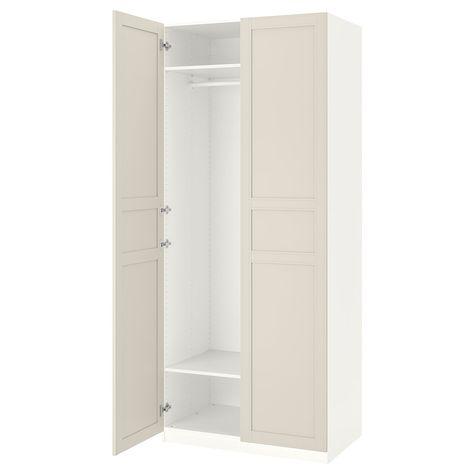 Pax Hemnes Guardaroba Ikea.Pax Guardaroba Bianco Flisberget Beige Chiaro 100x60x236 Cm