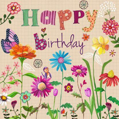 Vrolijke verjaardagskaart met vlinders en bloemen.  Cartita Design -- BLOEMEN EN PATTERNS --