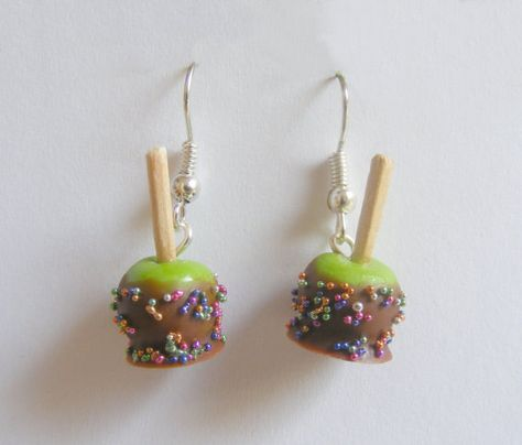 WANT! Scented or Unscented Halloween Chocolate Apple and Candy Miniature Food Earrings - Miniature Food Jewelry via Etsy candy jewelry