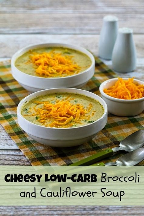 Cheesy Low-Carb Broccoli and Cauliflower Soup is has no flour or cornstarch; it's thickened with pureed broccoli and cauliflower and then has more broccoli florets added at the end for texture. (Gluten-Free, Meatless) [from KalynsKitchen.com]
