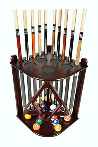 New Cue Rack Only 10 Pool Billiard Stick Ball Floor Rack Holder Choose Mahogany Black Oak Finish Online Looknewfashion Pool Cue Rack Billiards Pool Table Accessories