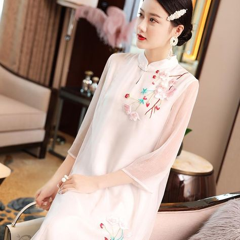 c88dac1ed Mandarin Collar Floral Embroidery Han Chinese Costume 2-piece Suit –  IDREAMMART