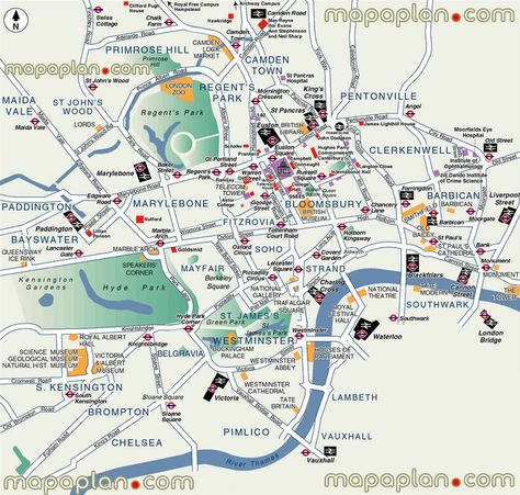 Sightseeing Map Of London.City Sightseeing Highlights Travel Landmarks London Top Tourist