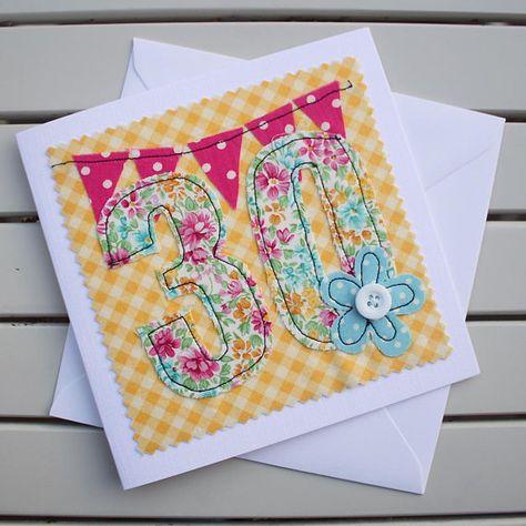 30th Birthday Card Handmade Machine Embroidered 30 Etsy 30th Birthday Cards Handmade Birthday Cards Cards Handmade