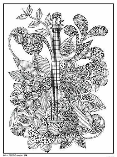 Art Zone Valentina Harper Ever Guitar Coloring Poster 18x24 Trends Rpaz346 Coloringposterlineart Coloring Canvas Zentangle Artwork Art