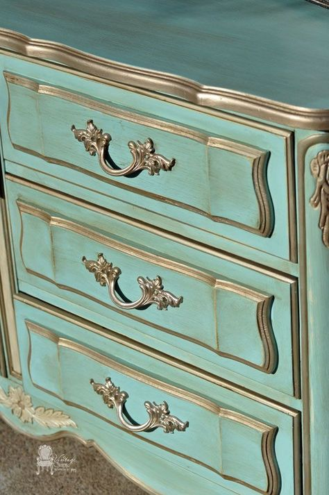 Painted French Dresser in APC Surfboard and Home Plate by Vintage Charm Restored
