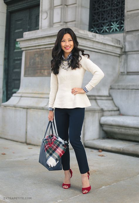 holiday office outfit // cream sweater, navy petite pants, red heels for work