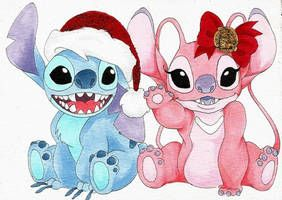 Merry Christmas By Noctillucca Stitch And Angel Stitch Drawing Stitch Disney