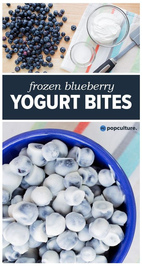 Packed with protein, these easy-to-make frozen blueberry yogurt bites are a delicious breakfast or a healthy snack. Get the healthy recipe here. snacks for kids to make Recipe: Frozen Blueberry Yogurt Bites Frozen Yogurt Blueberries, Frozen Yogurt Bites, Freezing Blueberries, Healthy Frozen Yogurt, Frozen Fruit, Frozen Banana, Healthy Sweets, Healthy Kids, Kid Lunches