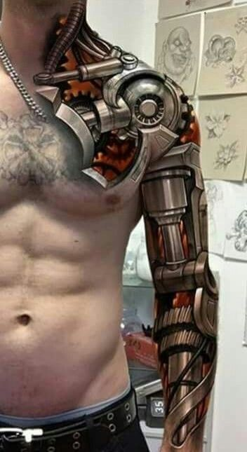 No F King Way This Is Too Sick The Hyper Realism Rendered Is Just Astonishing Biomechanical Tattoo Body Suit Tattoo Mechanic Tattoo