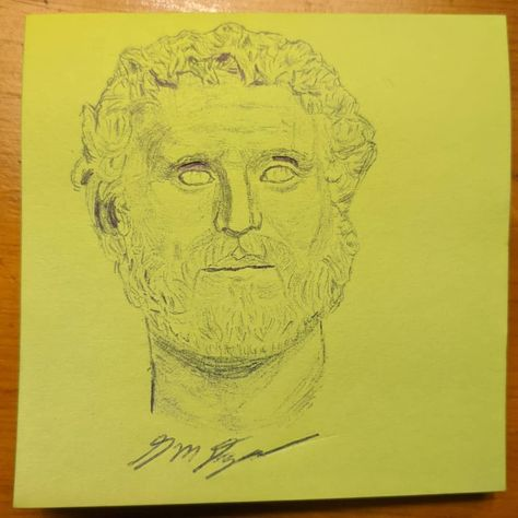 On this day in 138, Hadrian adopted Antoninus making him the heir to the Roman empire. Antoninus would earn the cognomen Pius after having the Senate deify Hadrian #art #artsandculture #penandpostitnote #pen #drawing #officeartist #officeart #officeartwork #doodle #doodlesofinstagram #sketch #postit #postitnotes #postitnotesketch #stickynotes #portrait #history #funfact #funfacts #romanhistory #ancienthistory #italy #rome #sculpture