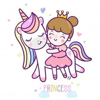 Desenhos Animados Bonitos Da Princesa Do Unicornio Em 2020