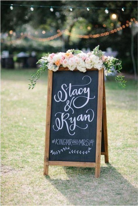 outdoor chic framed chalkboard wedding sign with hashtag #weddingideas #weddingdecor #weddingsigns #weddinghashtags #weddinghashtag #weddinginspiration