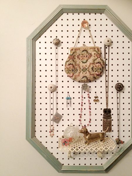 DIY Jewelry Organizer made with pegboard drawer pulls and a