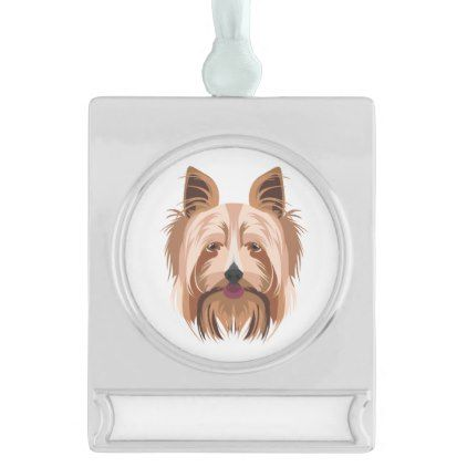 Illustration Yorkshire Terrier Silver Plated Banner Ornament Yorkshire Terrier Yorkshire Terrier Dog Terrier